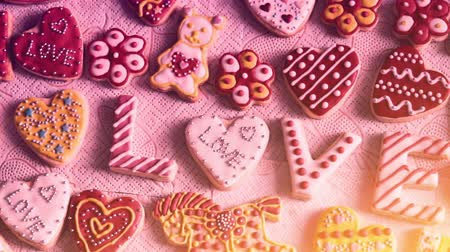 valentin nap : Valentines Day cookies. The word Love from cookies Stock mozgókép