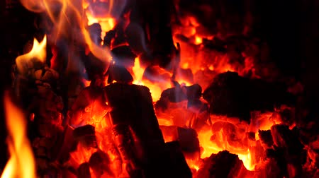 Powerful fire from large burning logs.