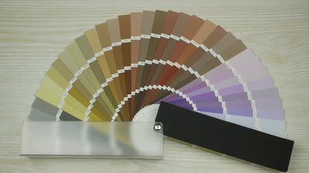 Sample colors catalogue. Shades Color Swatches. Colour swatches book. Stop motion Stock Footage