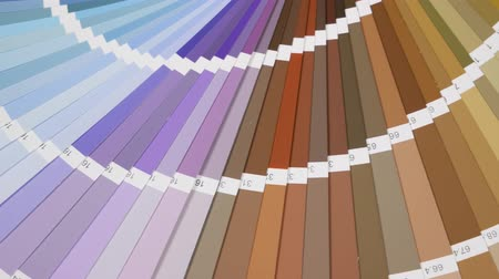 compatibility : Color Palette Guide Close Up. Coloured swatches catalogue Stock Footage