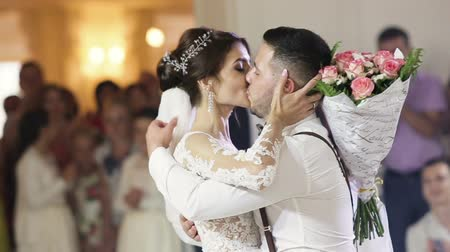 reception : Bride and Groom share their first dance together on their wedding day. Stock Footage
