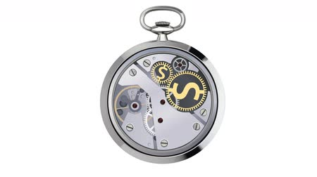time machine : Stopwatch works with coins signs Stock Footage