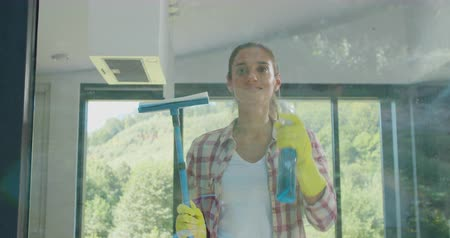 pokojowka : Girl removing cleaning solution from glass with special tool, cleaning service. Wideo
