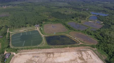 4K Aerial view of shrimp farm in South of Thailand