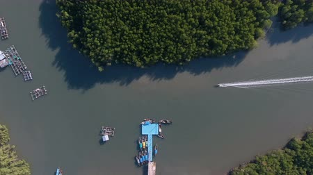 Aerial view on Local fisherman long tail boat in Phang-nga South of Thailand