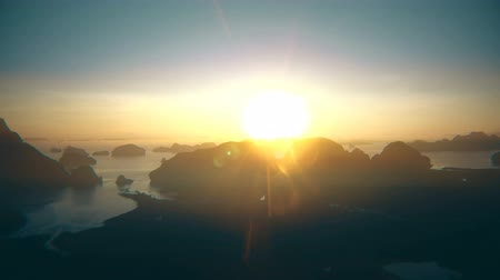 Aerial view of Phan-nga bay in sunrise, tropical view point.