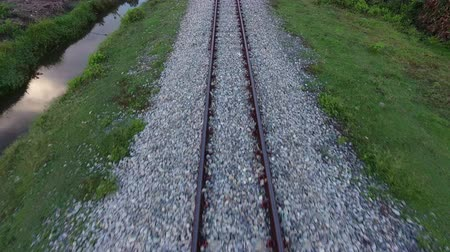 Aerial survey along the railway Stock Footage