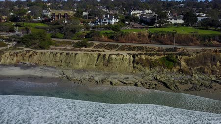 beach panorama : Del Mar - Seagrove Park - Drone Video. Aerial video of Oceanside park and beach offering lawns for relaxing & picnicking along with beach access. Seagrove Park and train railroad.