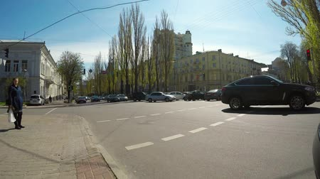 бульвар : crossroads with a pedestrian crossing on Shevchenko Boulevard Стоковые видеозаписи