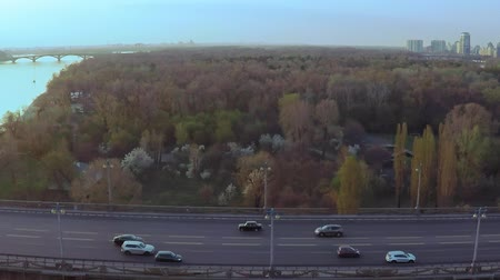 volavka : Aerial view of the Bridge across the wide Dnieper river in Kiev before sunset in spring Dostupné videozáznamy