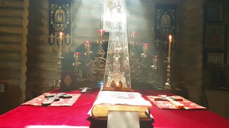 menorah : See in the altar of the Orthodox wooden church in Kiev with smoke