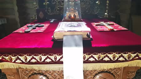 liturgy : Throne in the altar of the Orthodox wooden church in Kiev