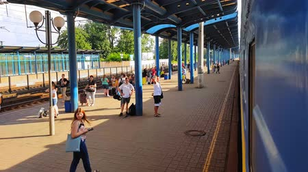 trilho : Passenger train of blue color calls at the railway station