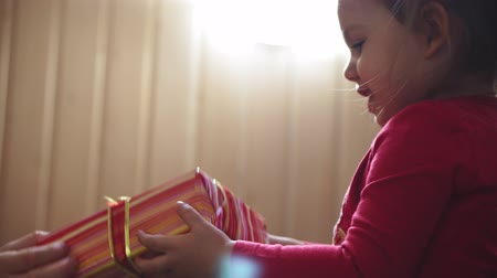 kerstpakket : Close-up of a little girl in a red jacket holding a box with a gift in her hands and kissing her mother Stockvideo