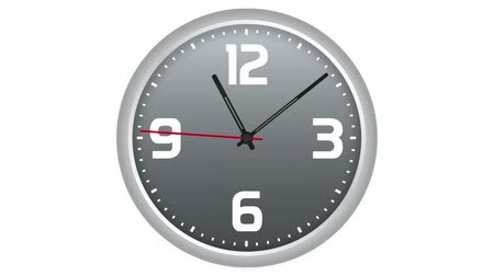 vetor : Animated clock. Twenty-four hours time lapse isolated on white background.