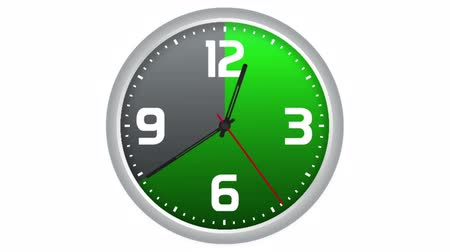 otuzlu yıllar : Animated clock with progressive scanning of thirty and forty-five minutes in green. Time lapse on isolated white background.