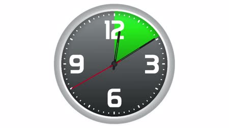 inspiração : Animated clock with progressive scanning of five, ten and fifteen minutes in green. Time lapse on isolated white background.