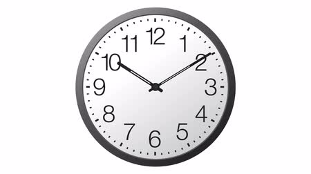 minute hand : Animated realistic clock. Twenty-four hours time lapse isolated on white background. Stock Footage