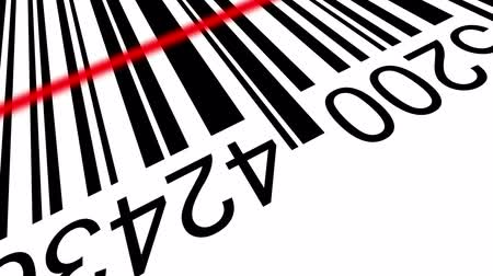 kod kreskowy : 3d Barcode, positive and negative, with red laser effect.