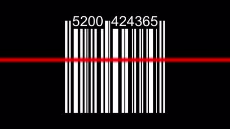 kurier : Barcode with red laser in positive, negative and green screen. Wideo