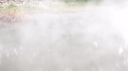 hot spring steam moving