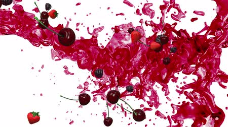 red background : Juicy splash and berrys on white background.