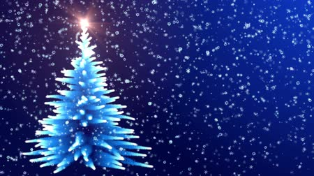 С Рождеством : Christmas Tree Glowing Blue Lights with Falling Snowflakes. Стоковые видеозаписи