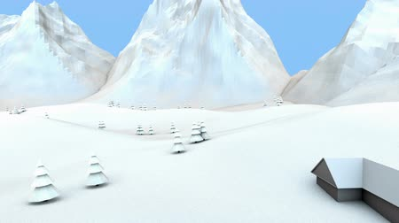 Winter low poly mountain landscape. Three-dimensional animation.