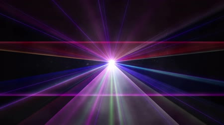 Multi-colored laser beams and fog in dark proceeding from one point. Wideo