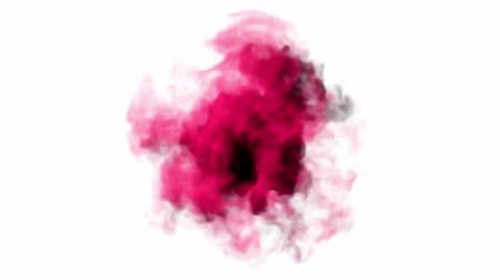 3D animation of smoke explosion with red and black colors on white background. Has alpha matte.
