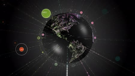 Spinning Earth with communication concept lines. Looping seamlessly background.
