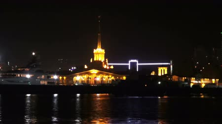 Of Sochi Seaport From Water Side at Night.