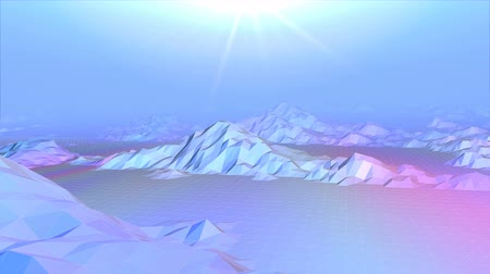 Abstract 3D Animation of Low Poly Mountain Landscapes. Loop Background. Стоковые видеозаписи