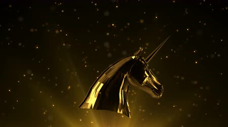 Awards light intro with golden unicorn. Lens flares and moving particles. Gold tint. Стоковые видеозаписи
