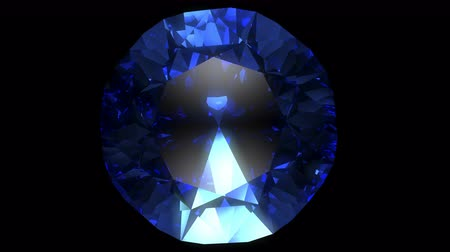 Rotation of the blue gemstone. Top view. Стоковые видеозаписи