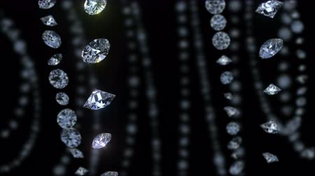 Movement of diamonds. 3D animation shiny diamonds. Beautiful background. Seamless loop.