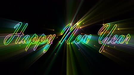 Written Happy New Year. Calligraphic text with rays. New Year holiday.