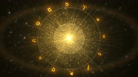 Zodiac signs revolve around a shining golden center. Seamless looping background.