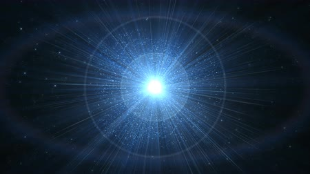 Shining blue abstract background. Fantastic background with a shining star in the center. Seamless looping.