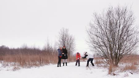 açıklık : the girls and the children have fun in the winter nature