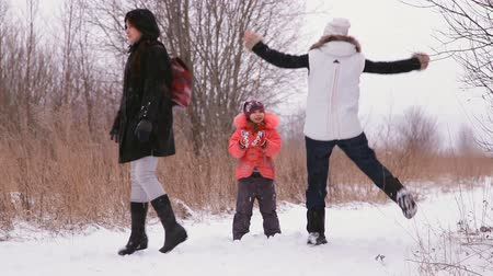 açıklık : girls and child having fun in the winter nature
