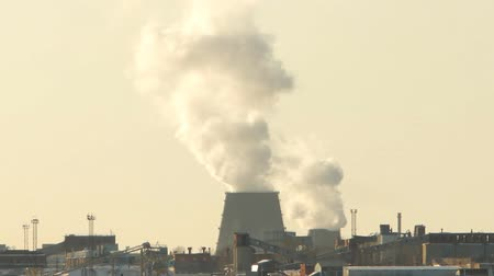 jasně : factory smoke emissions over the city, winter