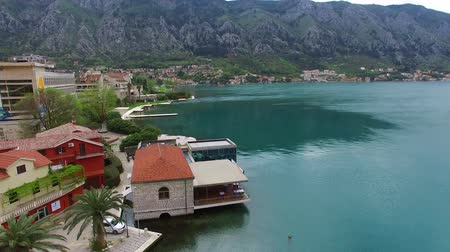 montengro : The Old Town of Kotor. Flying over the city. Aerial survey by a drone. Montenegro Stock Footage