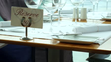 toalha de mesa : A table in a restaurant near the sea, Kotor, Montenegro. Stock Footage