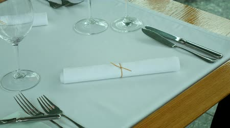 A table in a restaurant near the sea, Kotor, Montenegro. Wideo