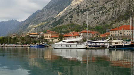 Sailboat near the old town of Kotor, Bay of Kotor, Montenegro