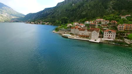 budva : Elite hotel on the shore of Kotor Bay in Montenegro. Aerial shooting from a height with the help of a drone.