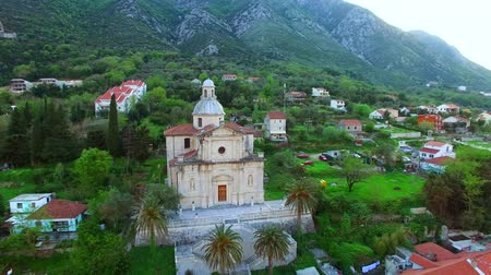 Prcanj, Montenegro The Bay of Kotor. Church of the Nativity of the Virgin. Aerial photography.