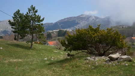 európa : The house in the mountains. Montenegrin real estate in the mountains. Stock mozgókép