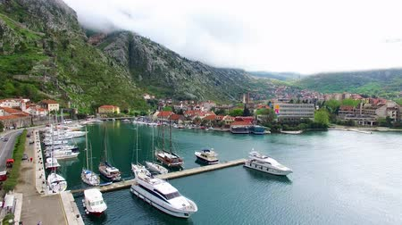 sea port : Bay of Kotor in Montenegro. Near the old town of Kotor. Aerial Photo drone. A beautiful country to travel.
